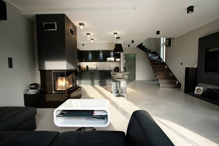 Luksusowe szarości: styl , w kategorii Salon zaprojektowany przez Kameleon - Kreatywne Studio Projektowania Wnętrz