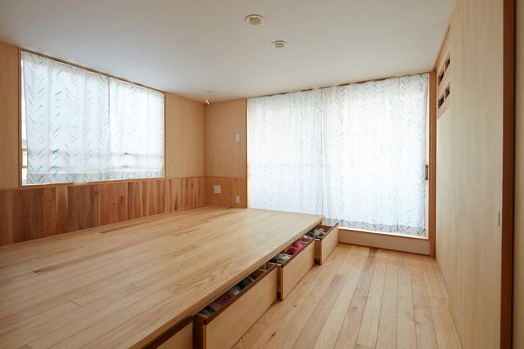 子夫婦寝室(造り付けの床下収納): 一級建築士事務所co-designstudioが手掛けた寝室です。
