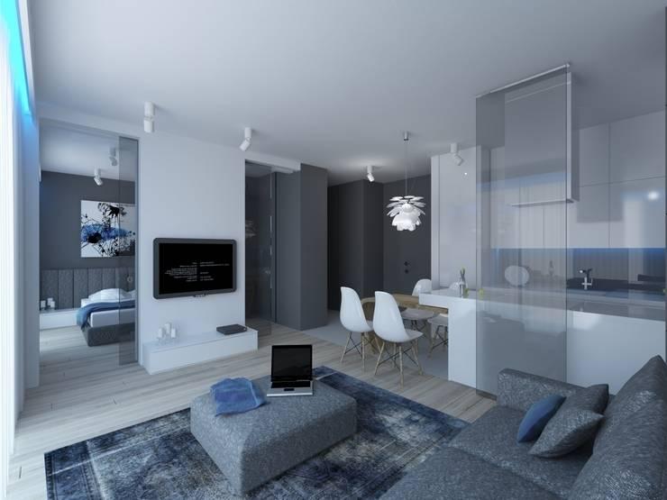 APARTAMENT KRASIŃSKICH  39m2 WARSZAWA: styl , w kategorii Salon zaprojektowany przez The Vibe