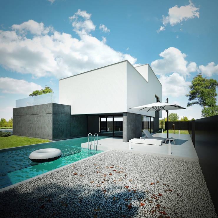 DOM Z DWUSPADOWYM DACHEM: styl , w kategorii Domy zaprojektowany przez 90 stopni