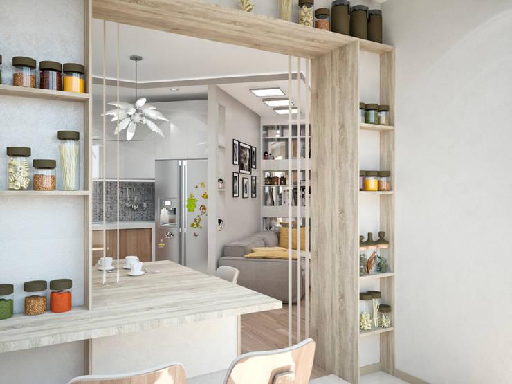 Четырехкомнатная квартира для молодой семьи : Гостиная в . Автор – Студия архитектуры и дизайна ДИАЛ