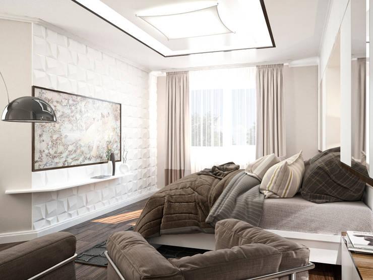 Четырехкомнатная квартира для молодой семьи : Спальни в . Автор – Студия архитектуры и дизайна ДИАЛ