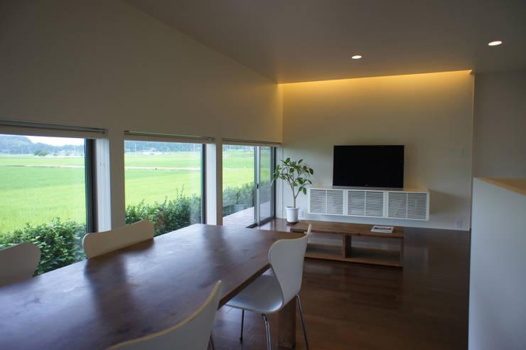 田園の中の家: たわら空間設計㈲が手掛けたリビングです。
