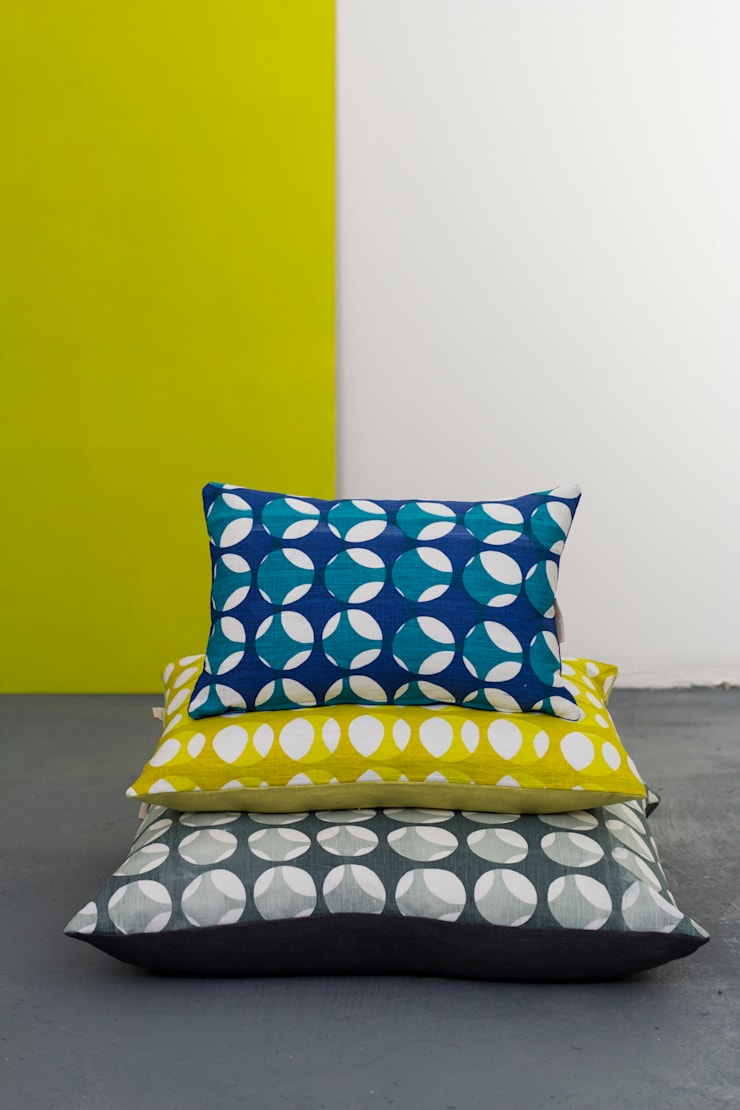 The irregular circular design shown in the three current colour ways and styles:  Household by Georgia Bosson