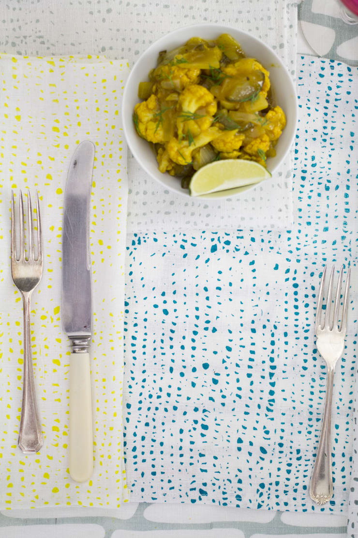 Confetti napkin detail:  Dining room by Georgia Bosson