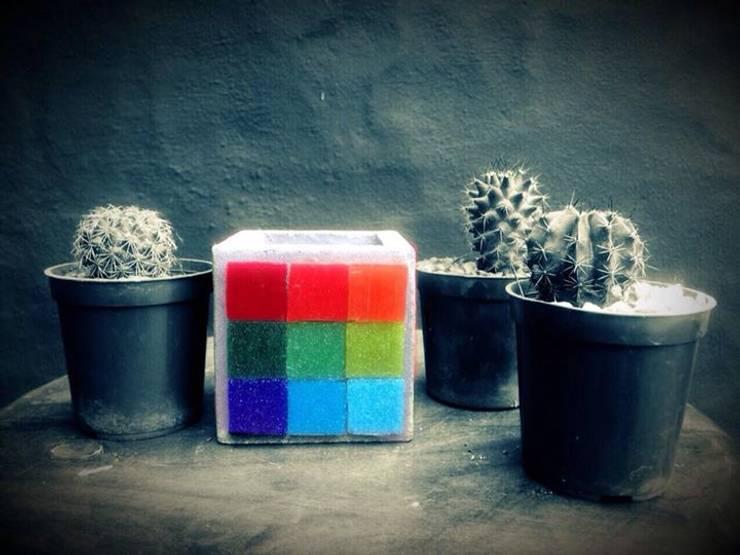 Maceta de cemento 7x7 cm: Jardines de estilo  por ArteSana