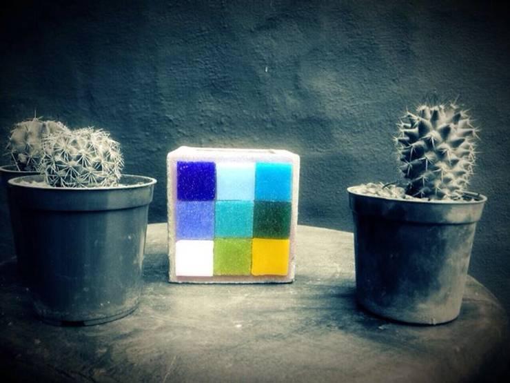 Maceta de cemento 7x7 cm: Jardines de estilo moderno por ArteSana