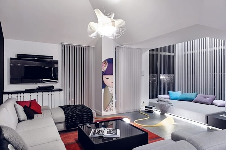 Apartament w Gdańsku 2012: styl , w kategorii Salon zaprojektowany przez formativ. indywidualne projekty wnętrz,