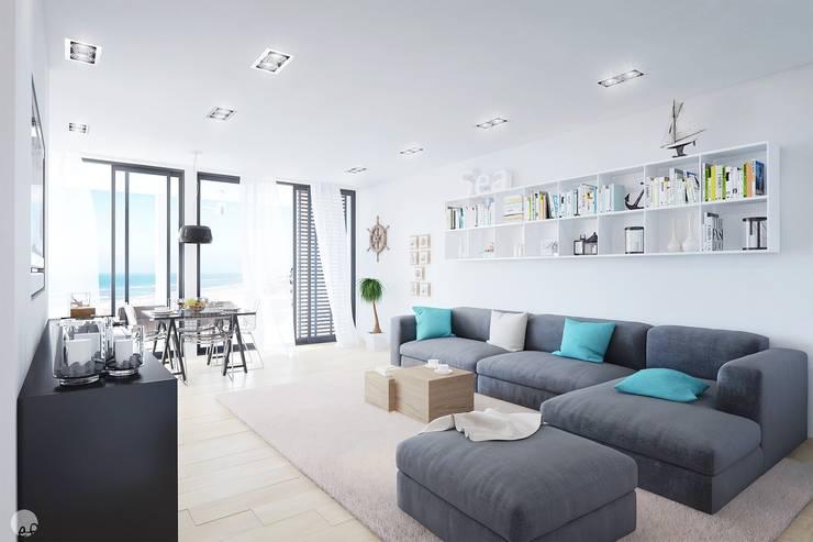 """Progetto tridimensionale per la realizzazione di una piccola residenza sul mare utilizzando la casa modulare """"CUBICCO"""": Soggiorno in stile  di Eleonora Frosini"""