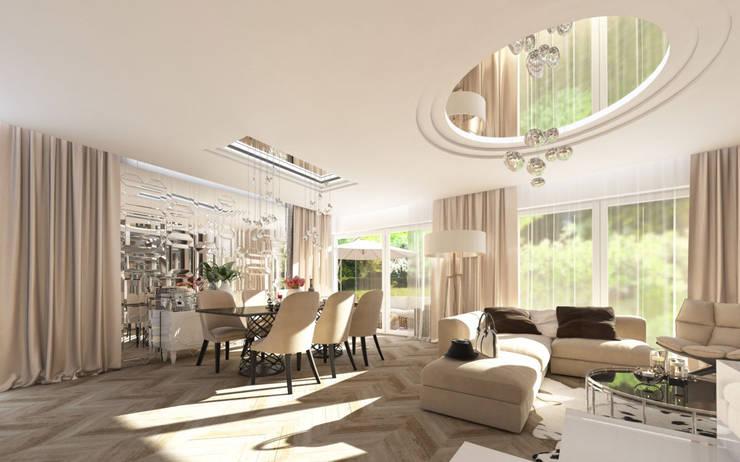 LUXURIOUS STYLE – WILLA W JAROSZOWEJ WOLI 180 m2: styl , w kategorii Jadalnia zaprojektowany przez TISSU Architecture