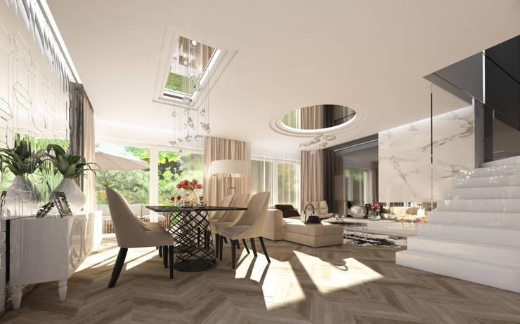 LUXURIOUS STYLE – WILLA W JAROSZOWEJ WOLI 180 m2: styl , w kategorii Salon zaprojektowany przez TISSU Architecture