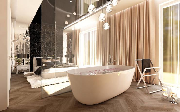 LUXURIOUS STYLE – WILLA W JAROSZOWEJ WOLI 180 m2: styl , w kategorii Łazienka zaprojektowany przez TISSU Architecture