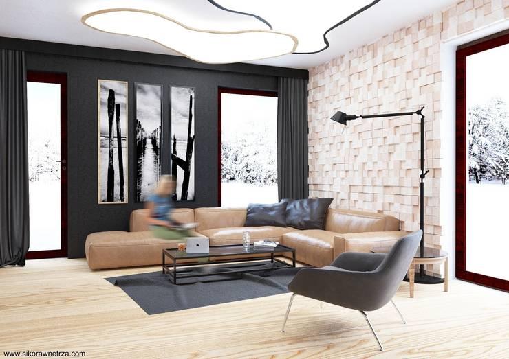 DOM w Gdańsku: styl , w kategorii Salon zaprojektowany przez Sikora Wnetrza