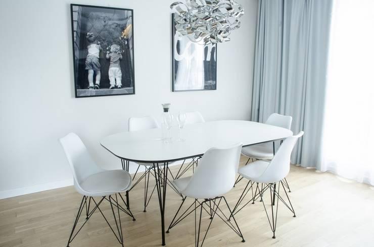 MIESZKANIE W SZAROSCIACH: styl , w kategorii Jadalnia zaprojektowany przez I Home Studio Barbara Godawska