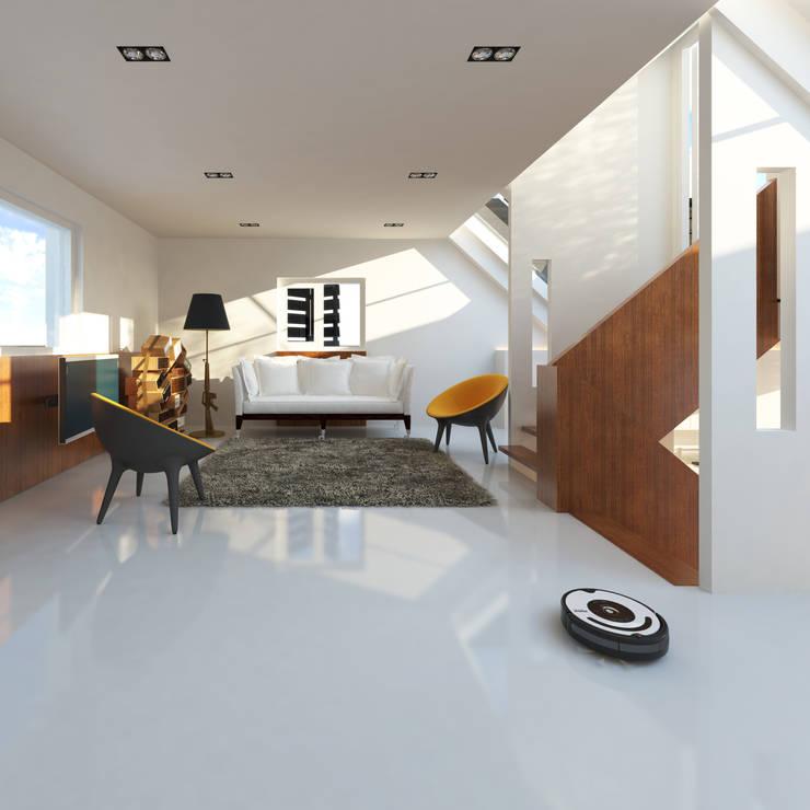 Loods:  Woonkamer door M&M Watervilla, Modern
