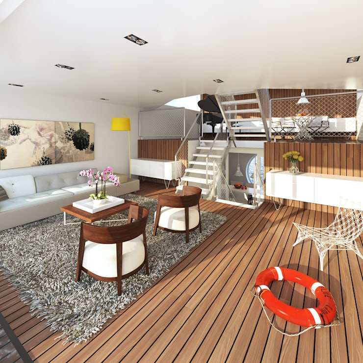 Jacht: moderne Woonkamer door M&M Watervilla