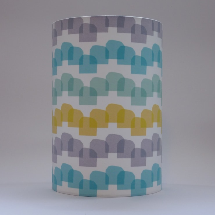 Handmade lampshade - Houses Mustard - original textile design:  Living room by Anna Dent Studio