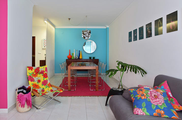 Apartamento Praia Santa Cruz: Salas de jantar  por Tiago Patricio Rodrigues, Arquitectura e Interiores