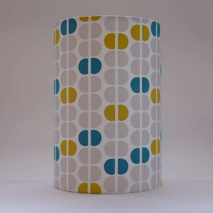 Handmade lampshade - Semicircles Mustard - original textile design:  Living room by Anna Dent Studio