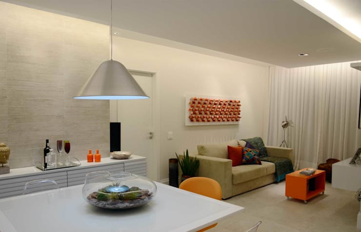Integração Sala de Estar e Jantar: Salas de estar modernas por fpr Studio