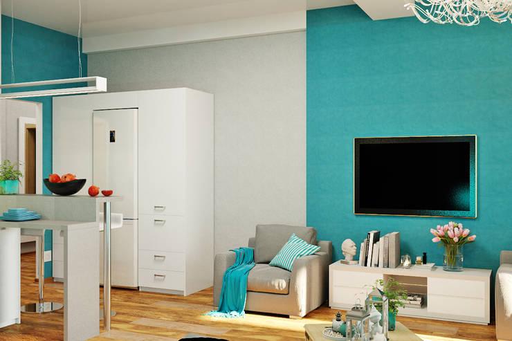 Морской стиль для гостиной и кухни: Гостиная в . Автор – Студия дизайна Interior Design IDEAS