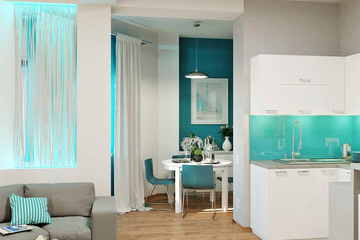 Морской стиль для гостиной и кухни: Столовые комнаты в . Автор – Студия дизайна Interior Design IDEAS