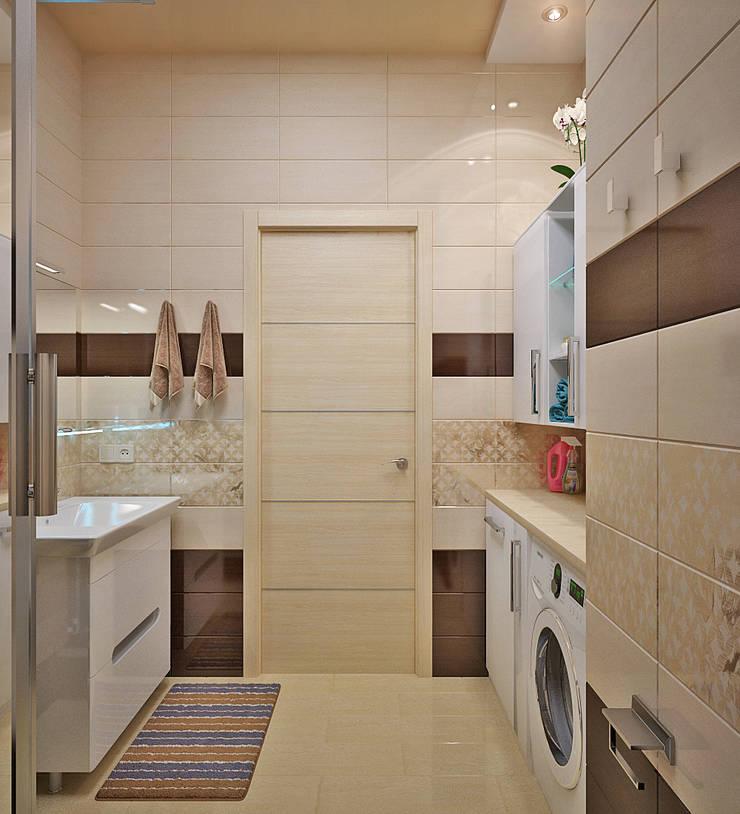 Морской стиль для гостиной и кухни: Ванные комнаты в . Автор – Студия дизайна Interior Design IDEAS