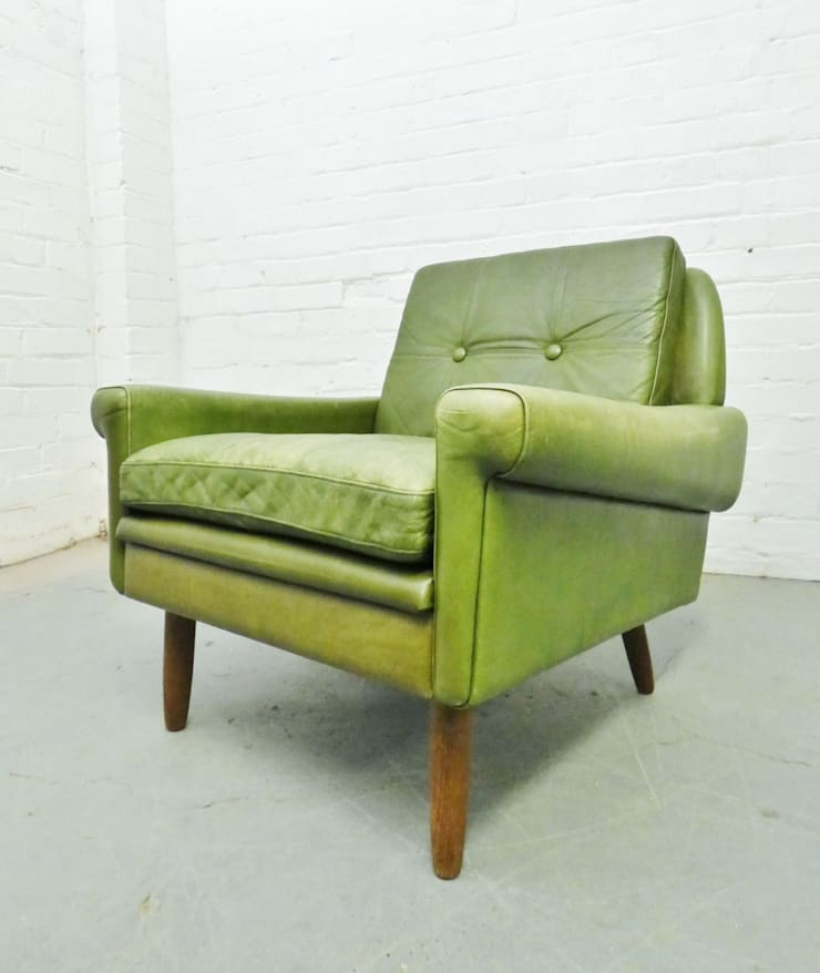 1960s green leather armchair :  Living room by Archive Furniture