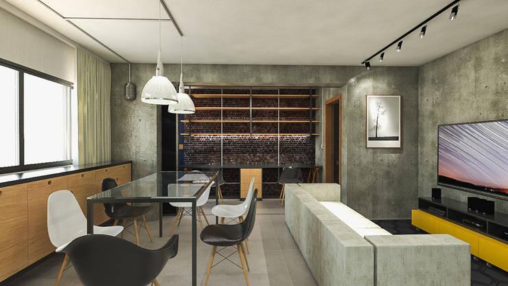 Apartamento IM: Salas de estar industriais por 285 arquitetura e urbanismo