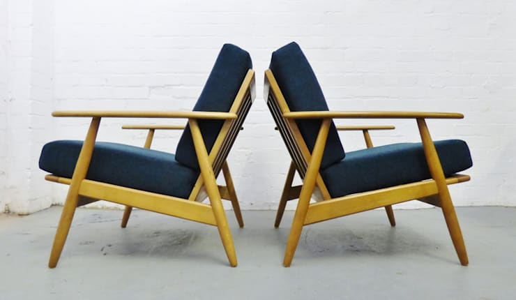 Pair of mid-century Danish beech lounge chairs :  Living room by Archive Furniture