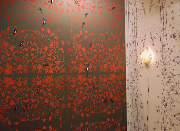 Hand printed Fabric wall surface and Laser-cut details :  Walls & flooring by Tactile Wonderland