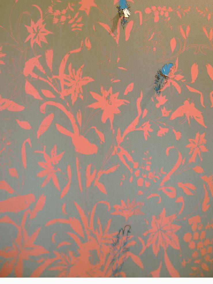 Hand printed fabric wallpaper and laser cut detail:  Walls & flooring by Tactile Wonderland