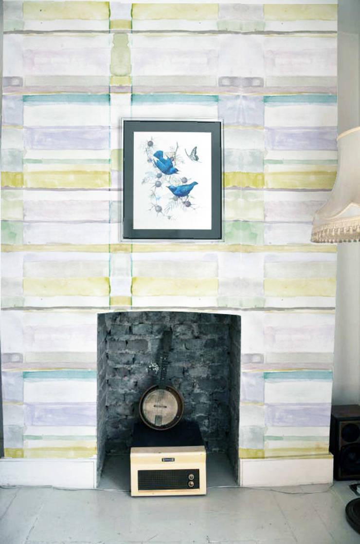 Bauhaus - Water colour paint wallpaper :  Walls & flooring by Tactile Wonderland