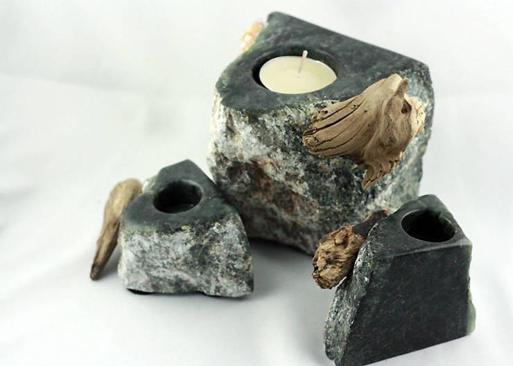 Decoration and utilities handmade of soapstone // Gebrauchskunst aus Speckstein, Treibholz u.a. Naturmaterialien:  Esszimmer von StoneSoftArt