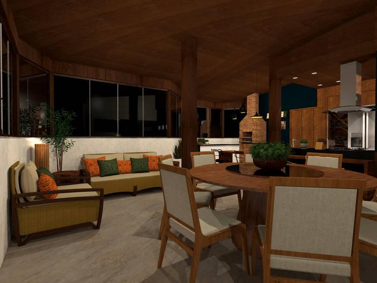 Cobertura Gourmet - RJ.: Terraços  por Konverto Interiores + Arquitetura