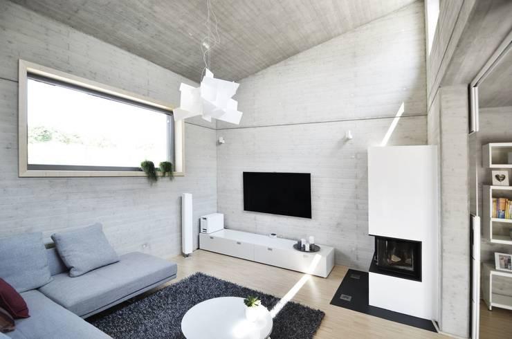 Haus KD: Wohnhauserweiterung mit Wellnessbereich  :  Wohnzimmer von KERSCH + HANSEN ARCHITEKTEN