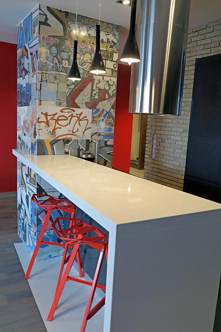 Negatyw miasta: styl , w kategorii Kuchnia zaprojektowany przez Wnętrza Alicja Galewska,