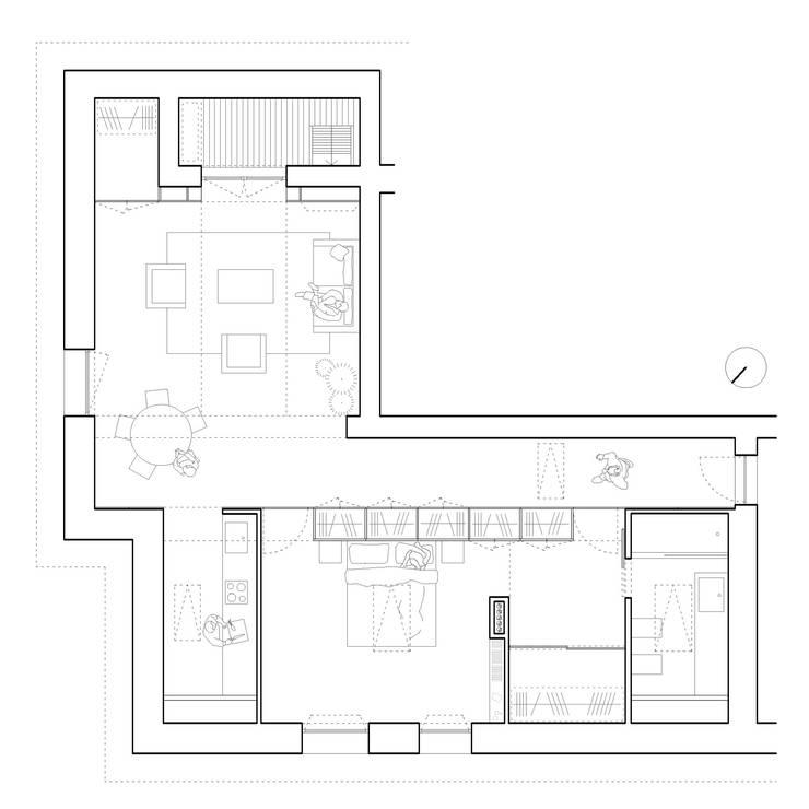 pianta appartamento:  in stile  di studio wok