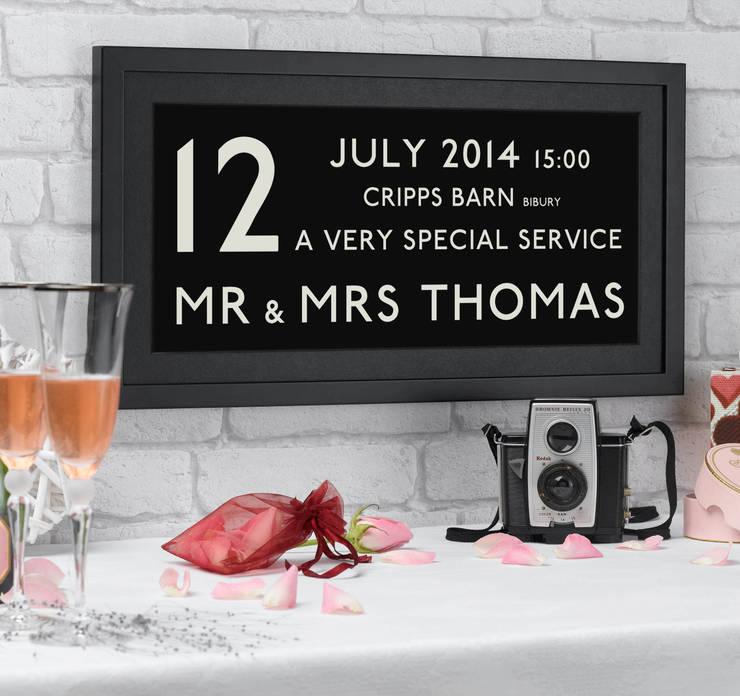 Wedding Date Bus Blind Personalised Print:  Artwork by Betsy Benn Ltd