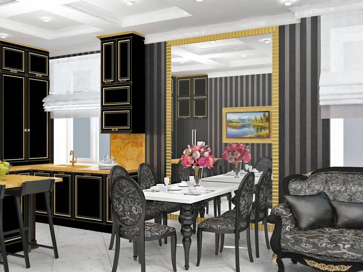 Гостиная черно-белое ар-деко: Гостиная в . Автор – Kalista,