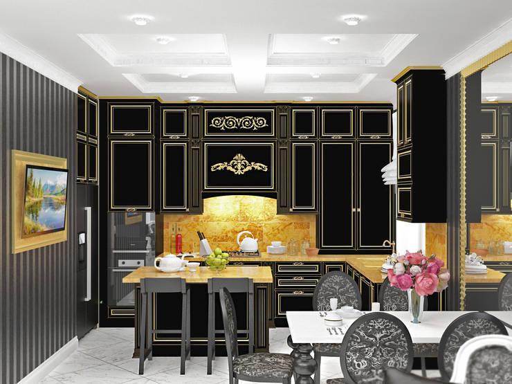 Гостиная черно-белое ар-деко: Кухни в . Автор – Kalista,