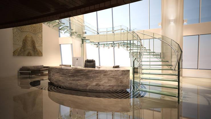 FLY - Große Bogentreppe aus Glas mit Mittelpodest:  Flur, Diele & Treppenhaus von Siller Treppen/Stairs/Scale