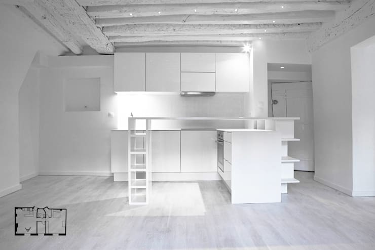 Restructuration d'un appartement à Paris 3ème: Cuisine de style de style Minimaliste par GALI Sulukjian Architecte