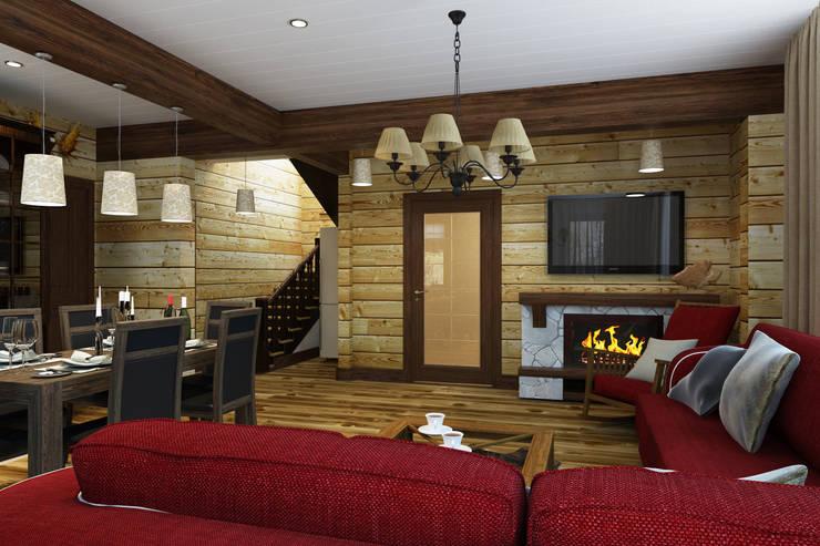 Гостиная в стиле шале 1 этаж: Гостиная в . Автор – Универсальная история