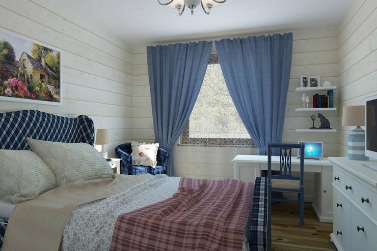 Спальня мамы 1 этаж стиль кантри с намеком на французский прованс: Спальни в . Автор – Универсальная история