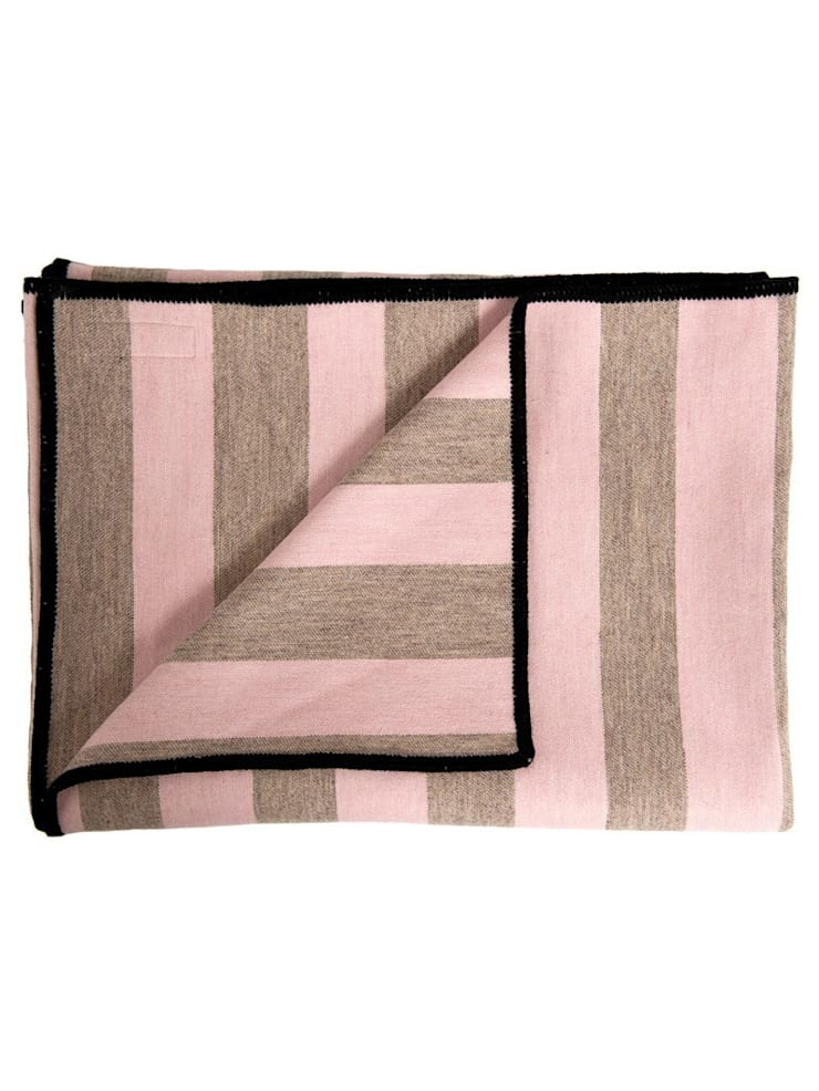 Marshall Stripe Throw - Pink on Mushroom:  Bedroom by Luku Home