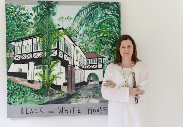 Black and White House Singapore:  Artwork by Clare Haxby Art Studio