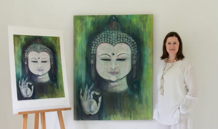 Emerald Mudra Buddha:  Artwork by Clare Haxby Art Studio