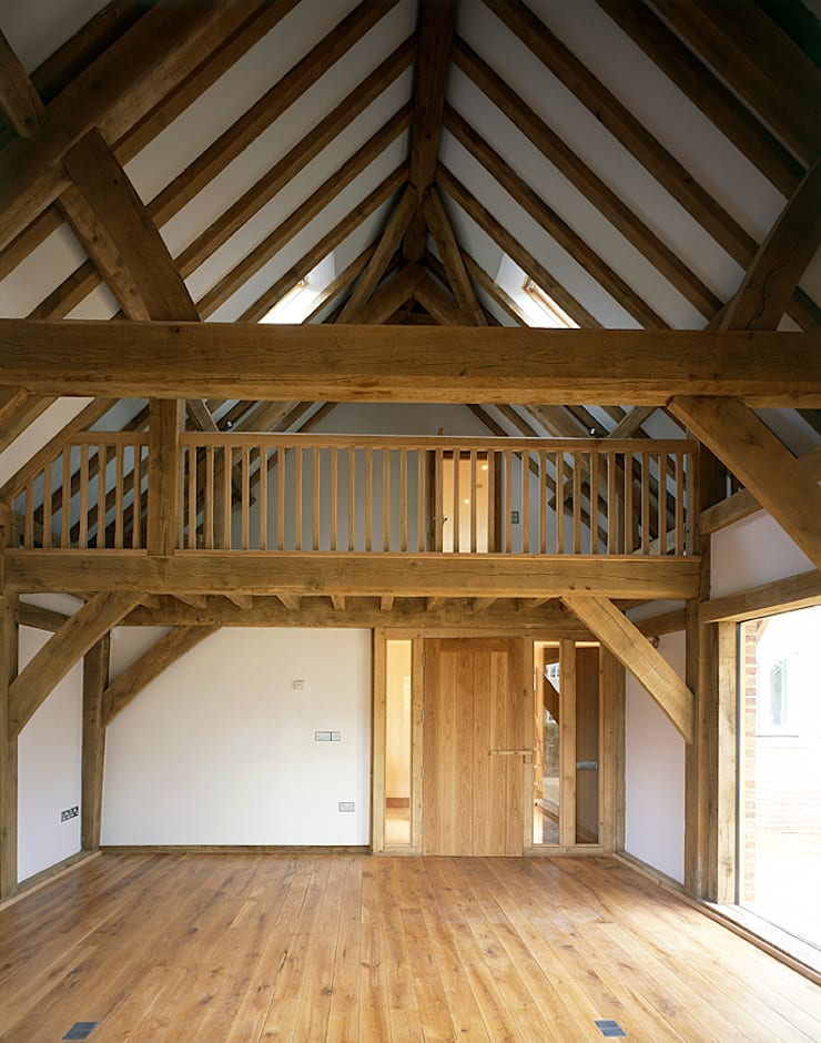 House in Old Marston, Oxford.:  Living room by Jessop and Cook Architects