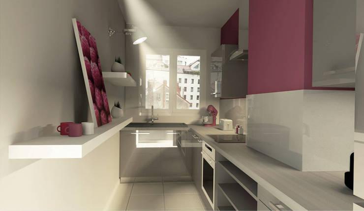 3D de la cuisine: Cuisine de style de style Moderne par Chloé Bouvier | Architecte d'intérieur CFAI